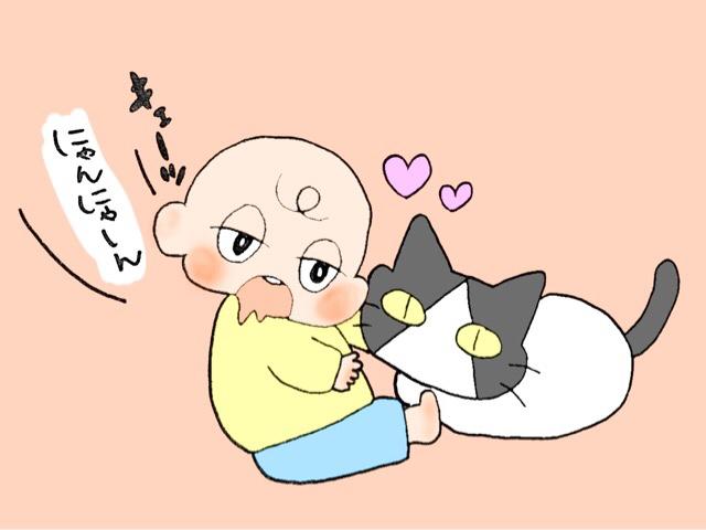 猫にメロメロな子供
