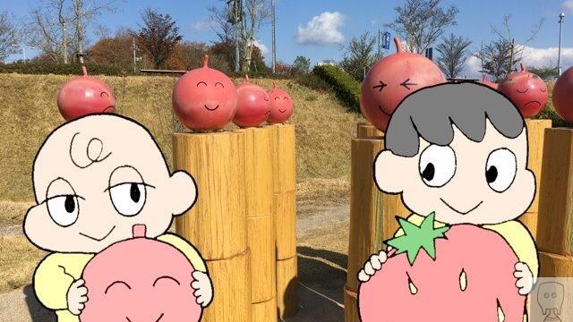 せら夢公園のオブジェと子供たち