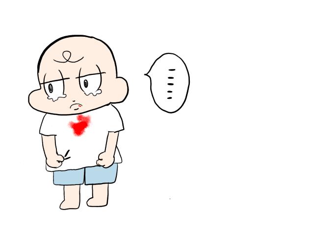 子供の唇の怪我